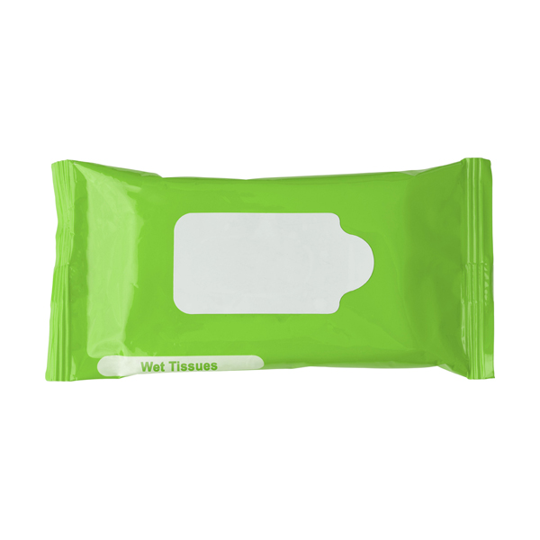 Bag with 10 wet tissues. in light-green
