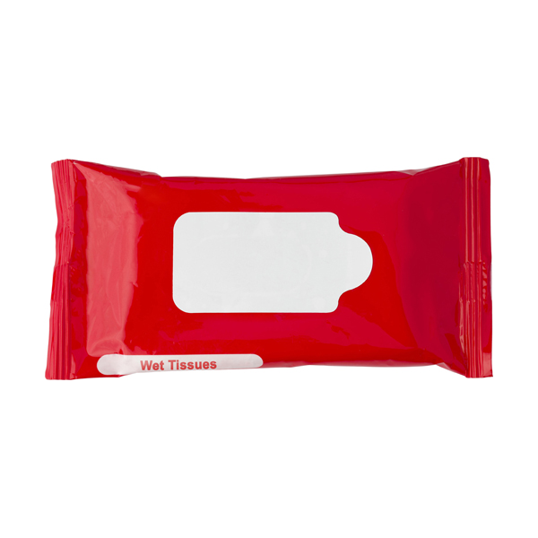 Bag with 10 wet tissues. in red