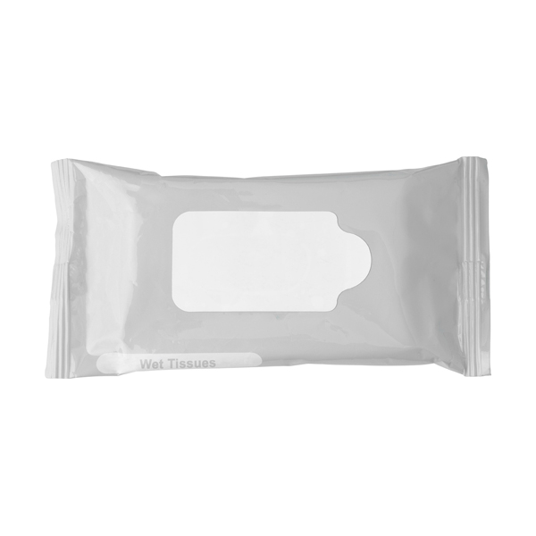 Bag with 10 wet tissues. in silver