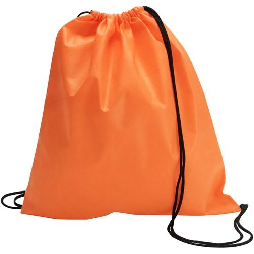 Drawstring bag, non woven  in orange