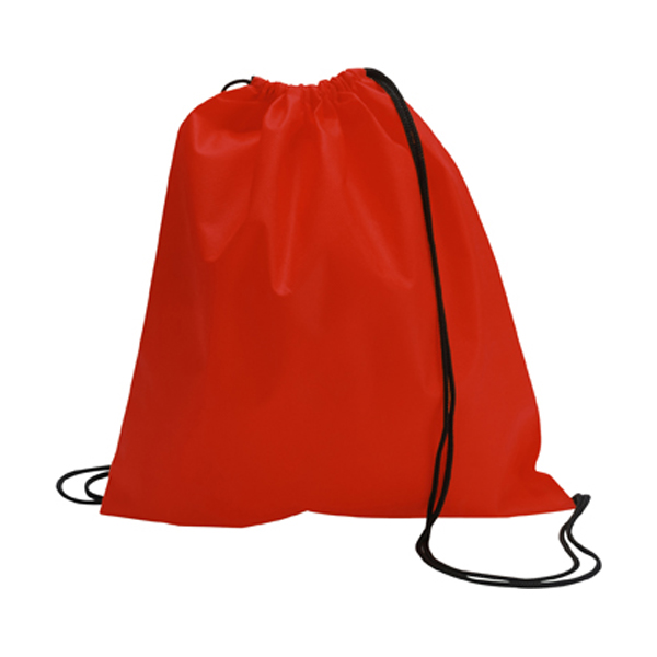 Drawstring bag, non woven  in red
