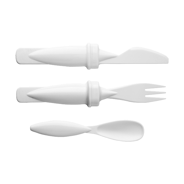 Plastic travel cutlery set, in white