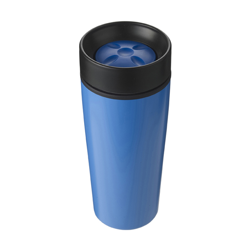 Stainless steel 450ml travel mug a plastic interior. in light-blue