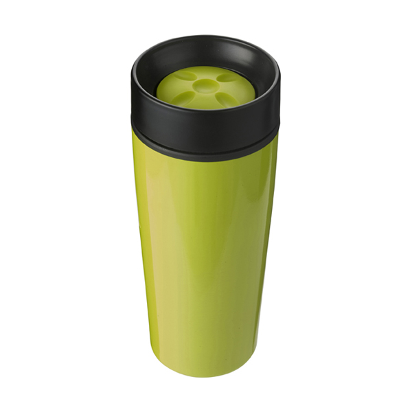Stainless steel 450ml travel mug a plastic interior. in lime