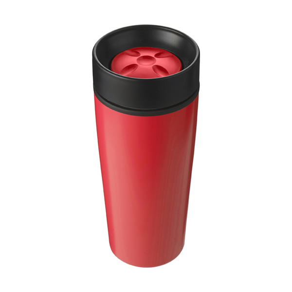 Stainless steel 450ml travel mug a plastic interior. in red