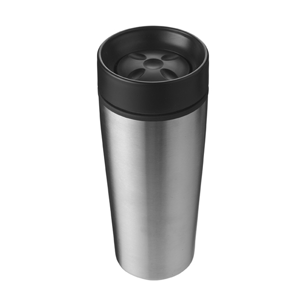 Stainless steel 450ml travel mug a plastic interior. in silver