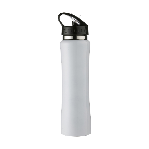 Aluminium sports flask, 500ml in white