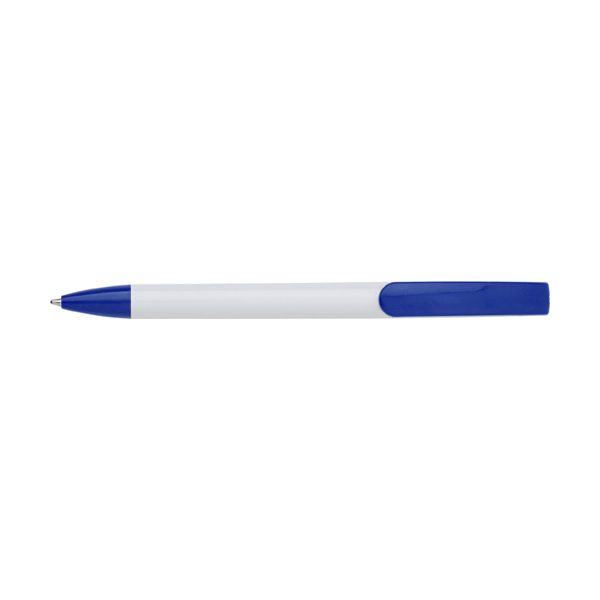 Plastic ballpen with blue ink. in white-and-blue