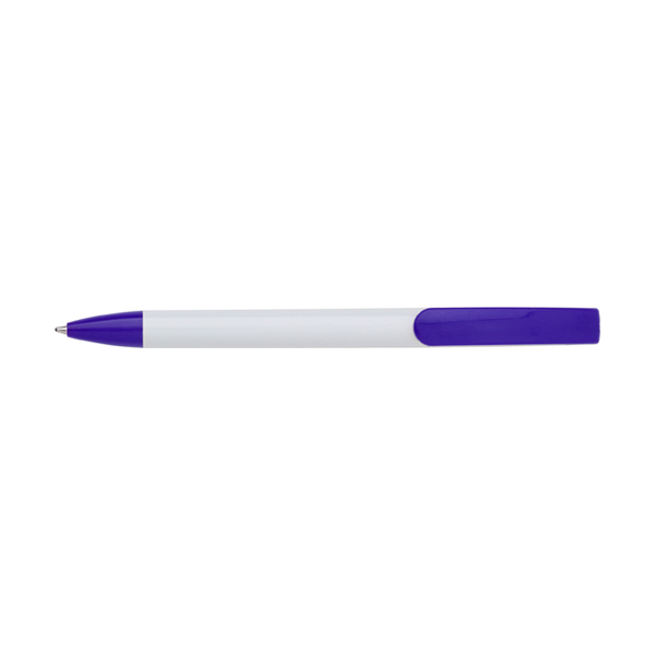 Plastic ballpen with blue ink. in white-and-purple