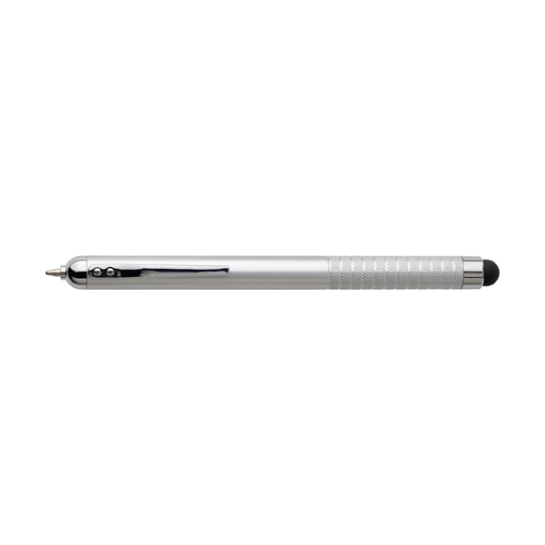 Ballpen with black ink and stylus. in metallic-silver