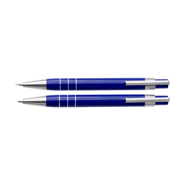Writing set in a pouch. in blue