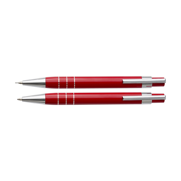 Writing set in a pouch. in red