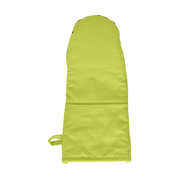 Cotton/neoprene oven glove. in lime