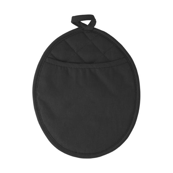 Neoprene oval shaped oven glove. in black