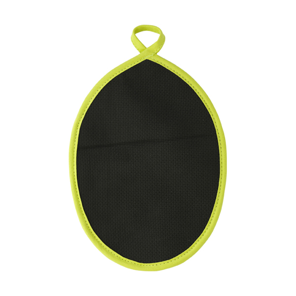 Neoprene oval shaped oven glove. in lime
