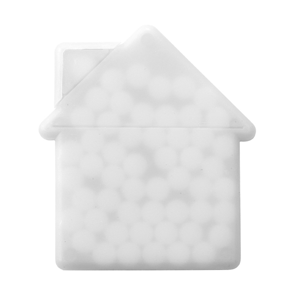 House shaped mint card in white