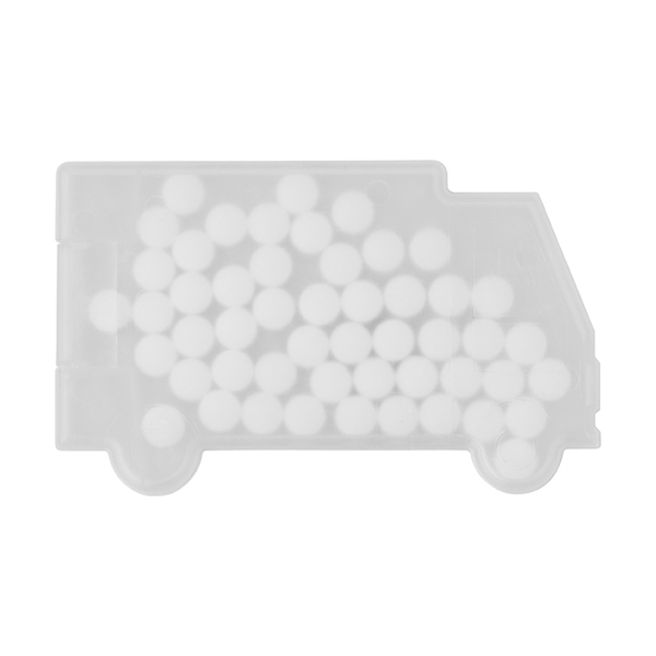 Truck shaped mint card in white