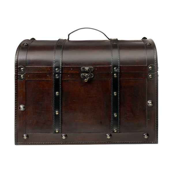 Large wooden chest. in brown