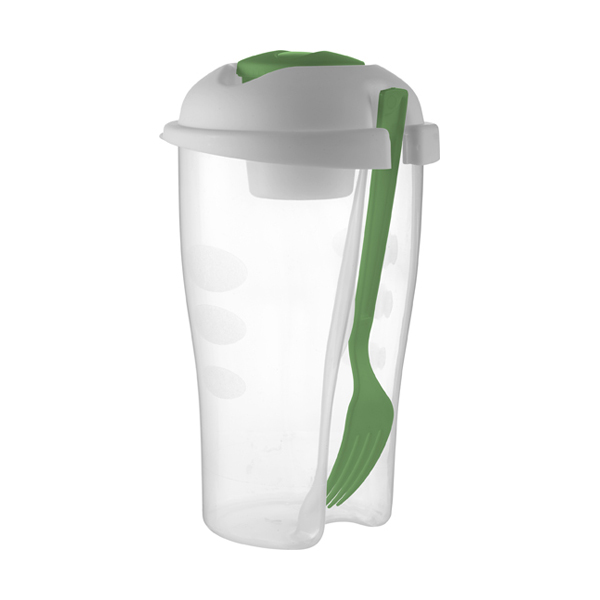 Salad container with cup and fork. in light-green