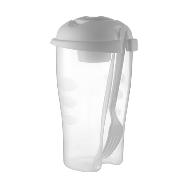 Salad container with cup and fork. in white