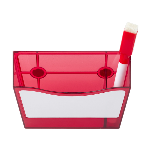 Plastic pen holder with a white board. in