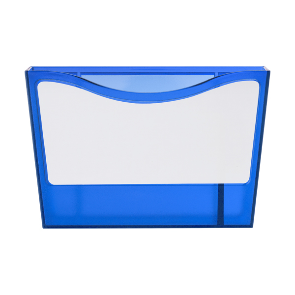 Plastic pen holder with a white board. in blue