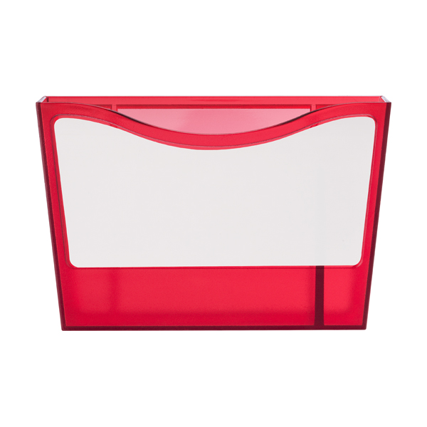 Plastic pen holder with a white board. in red
