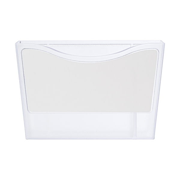 Plastic pen holder with a white board. in white