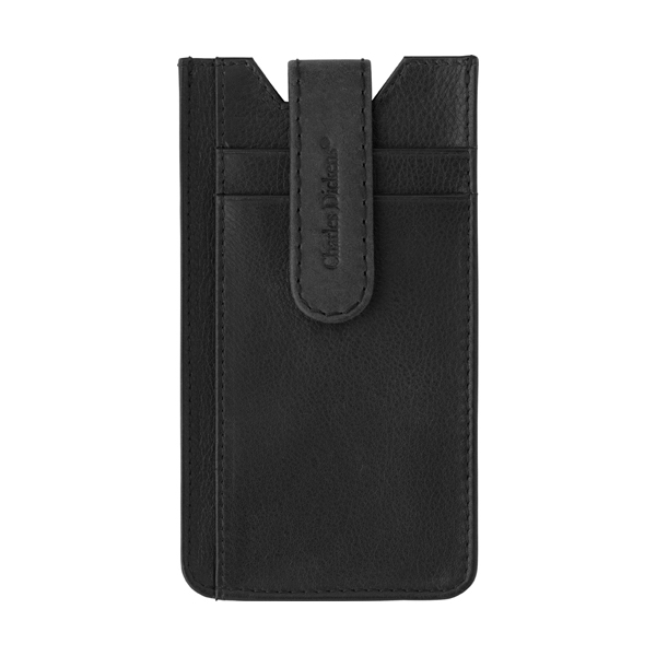 Leather Charles Dickens® phone holder. in black
