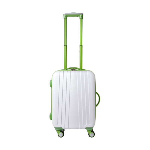 ABS trolley with 4 spinner wheels. in lime