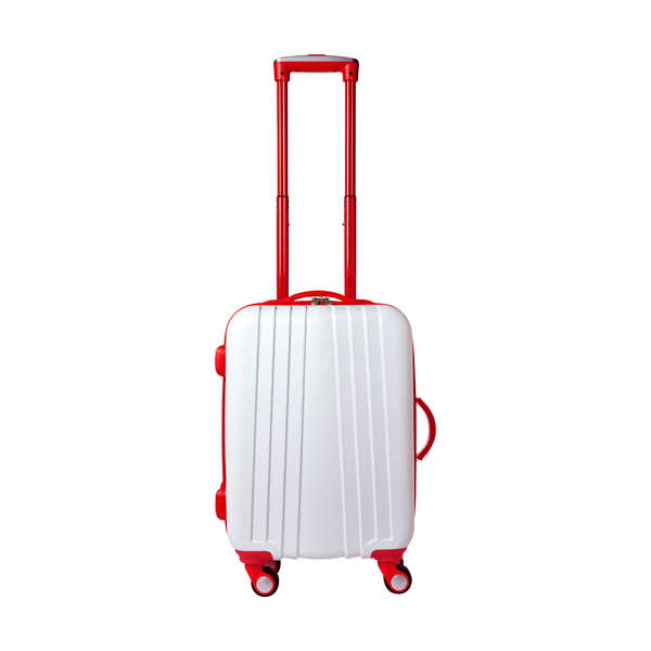 ABS trolley with 4 spinner wheels. in red