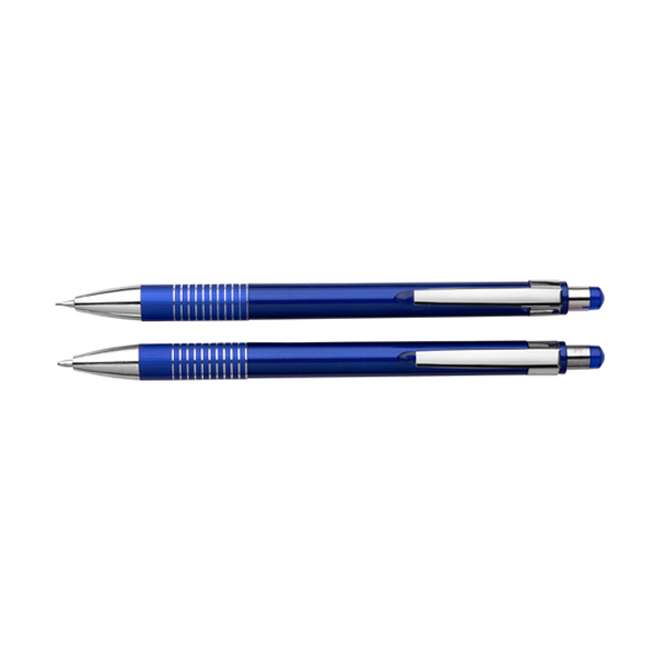 Ballpen & pencil set in cobalt-blue