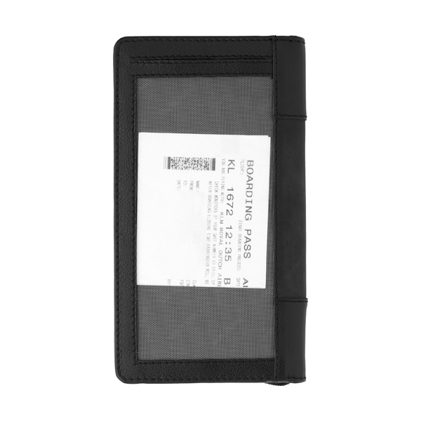 Leather Charles Dickens® travel wallet. in black