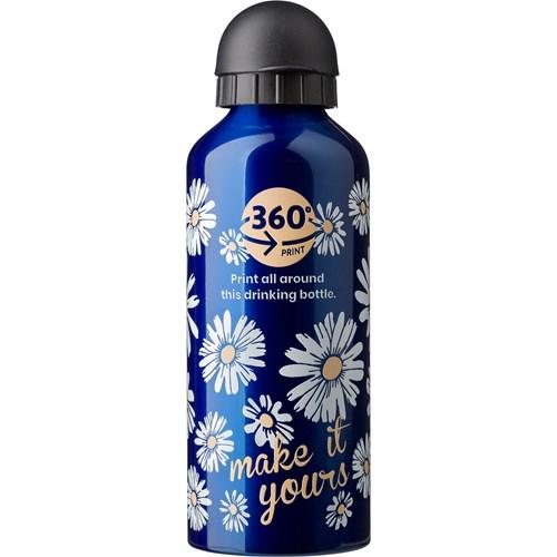 Metal drinking bottle in silver