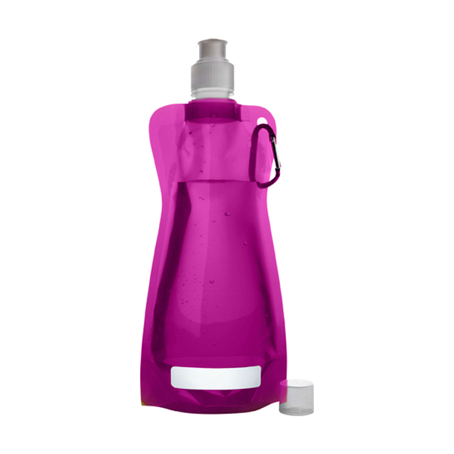 Foldable plastic water bottle in pink