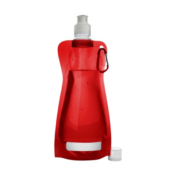 Foldable plastic water bottle in red