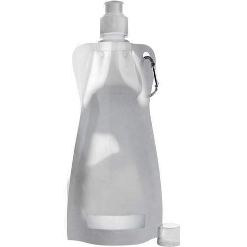 Foldable plastic water bottle in silver