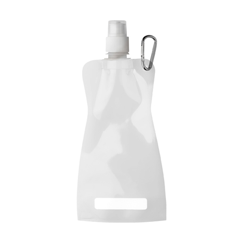 Foldable plastic water bottle in white
