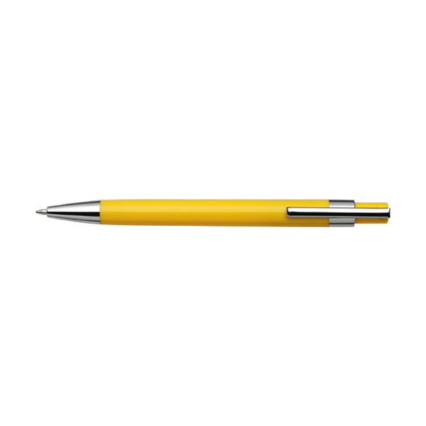 Plastic ballpen with black ink. in yellow