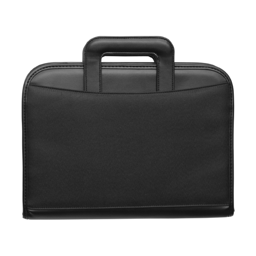 Microfibre zipped folder in black