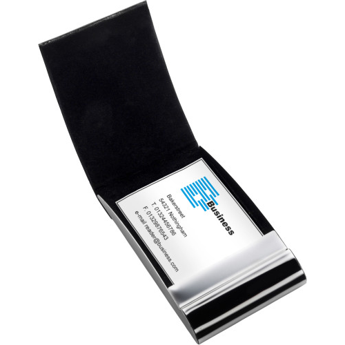 Metal business card holder in black-and-silver