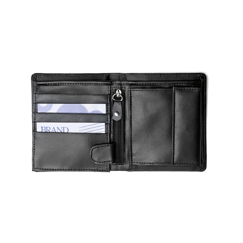 Bonded leather wallet in black