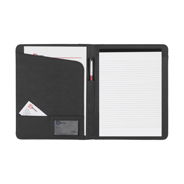 A4 Bonded leather folder in black