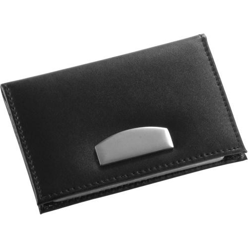 Bonded leather card holder in black
