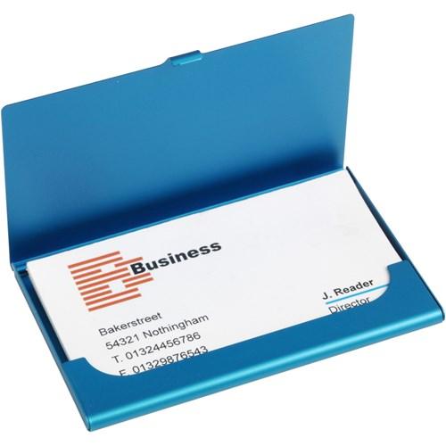 Aluminium card holder in light-blue
