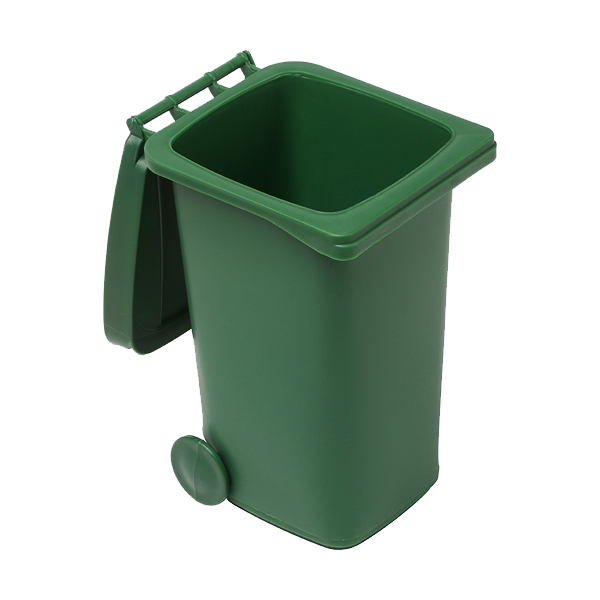 Plastic desk trash bin in green