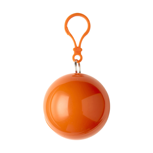 PVC poncho in a plastic ball in orange