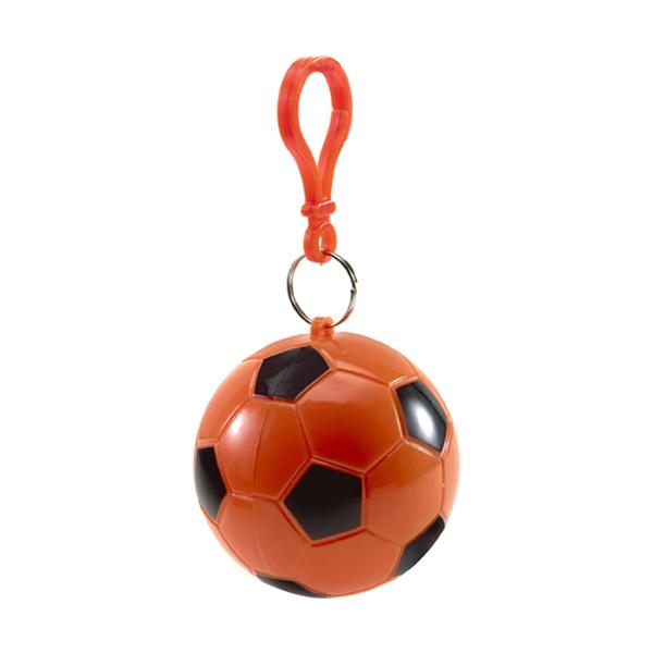 Poncho in a plastic football in orange