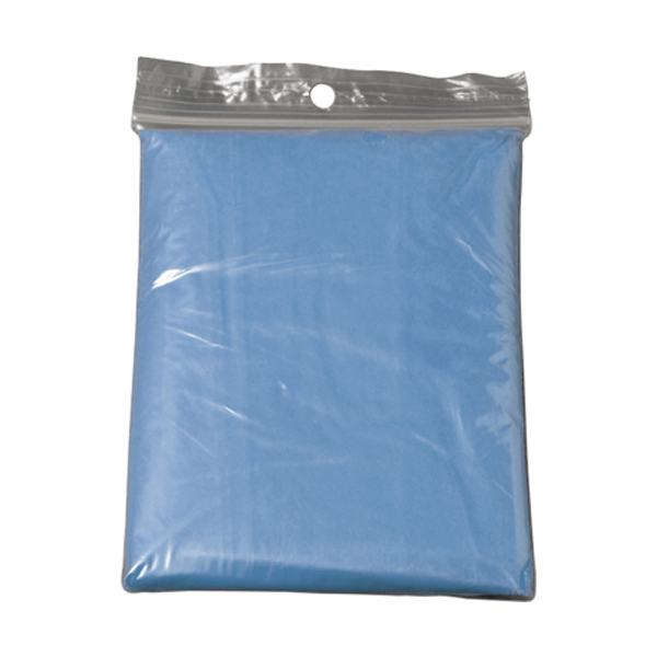 Foldable translucent poncho in light-blue