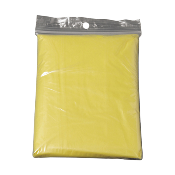 Foldable translucent poncho in yellow